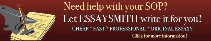 Let Essaysmith write your SOP!